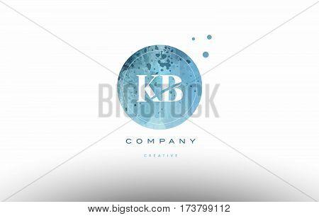 Kb K B  Watercolor Grunge Vintage Alphabet Letter Logo