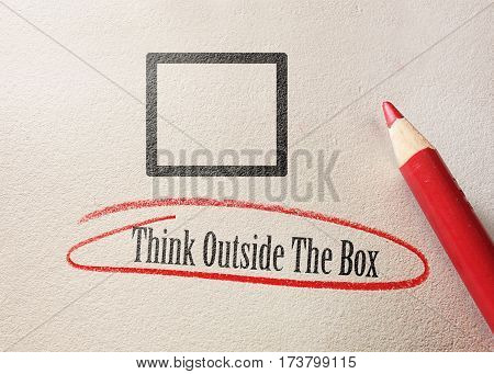 Think outside the box text circled in red