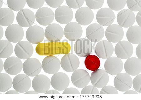 colorful and white tablets