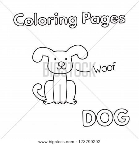 Cartoon dog illustration. Vector coloring book pages for children