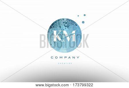 Km K M  Watercolor Grunge Vintage Alphabet Letter Logo