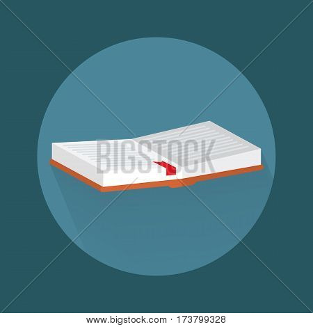 Icon with the image of an open book with long shadow with the bookmark.