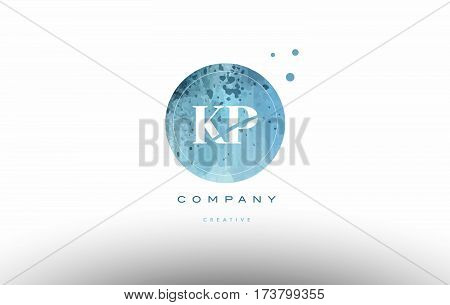 Kp K P  Watercolor Grunge Vintage Alphabet Letter Logo