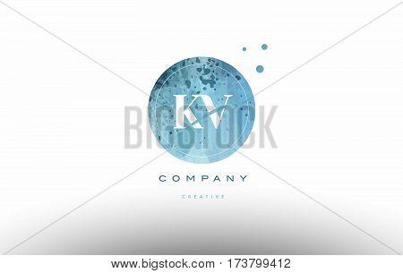 Kv K V  Watercolor Grunge Vintage Alphabet Letter Logo