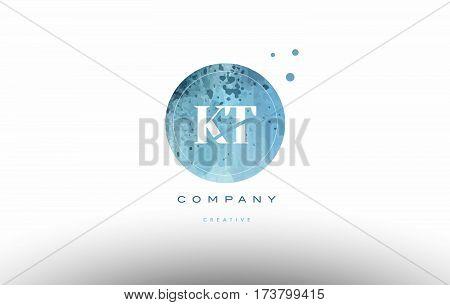 Kt K T  Watercolor Grunge Vintage Alphabet Letter Logo