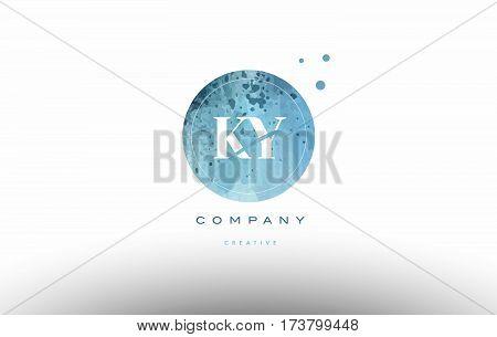 Ky K Y  Watercolor Grunge Vintage Alphabet Letter Logo
