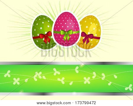 Decorated Easter Eggs with Ribbons and Bow Over Light Cream Background with Copy Space Area