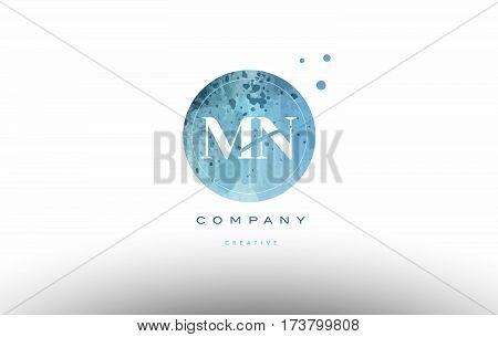 Mn M N  Watercolor Grunge Vintage Alphabet Letter Logo