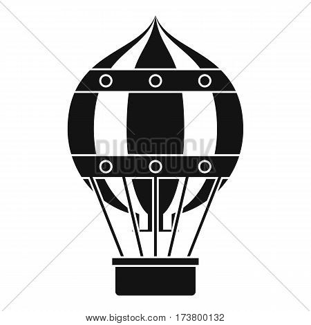 Old fashioned helium balloon with basket icon. Simple illustration of old fashioned helium balloon vector icon for web