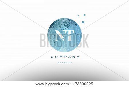 Nt N T  Watercolor Grunge Vintage Alphabet Letter Logo