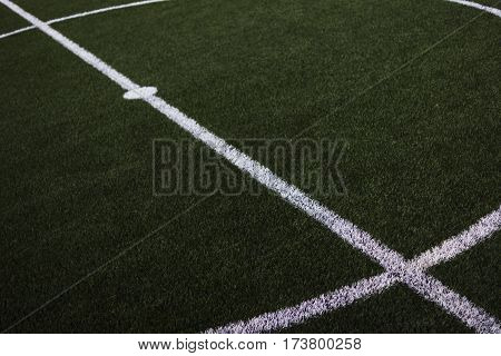Soccer field, artificial turf, central circle, center