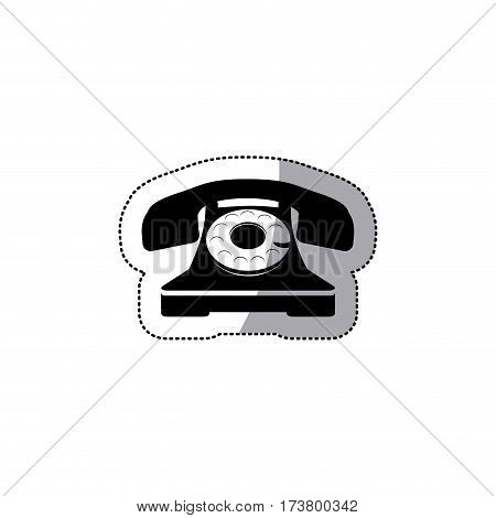 sticker black silhouette antique phone with auricular vector illustration