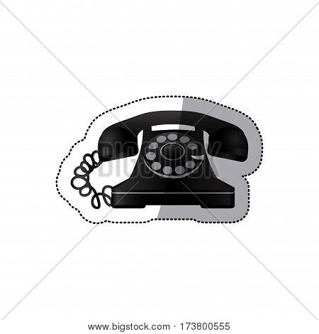 sticker monochrome silhouette antique phone with auricular vector illustration