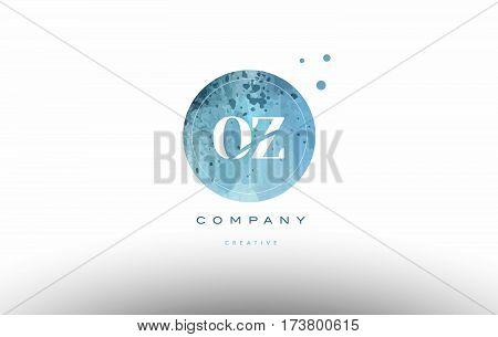 Oz O Z  Watercolor Grunge Vintage Alphabet Letter Logo