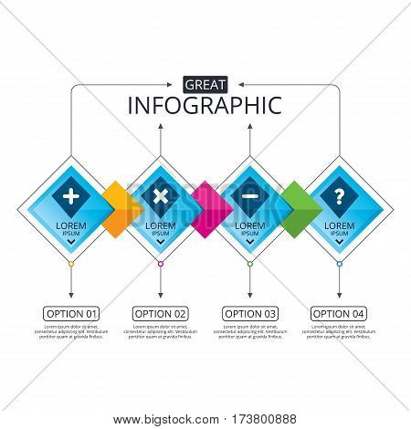 Infographic flowchart template. Business diagram with options. Plus and minus icons. Delete and question FAQ mark signs. Enlarge zoom symbol. Timeline steps. Vector