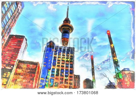Downtown auckland at night with sky tower in the background