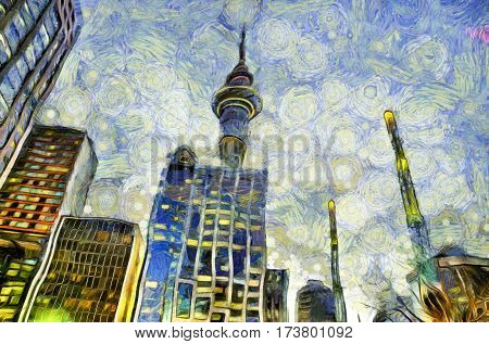 Sky tower in Auckland New Zealand with buildings in the foreground