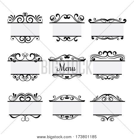 Art deco menu labels isolated on white background. Vintage vector menu elements in victorian style decor illustration