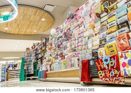 New York February 26 2017: Greeting cards isle in a Rite Aid pharmacy.