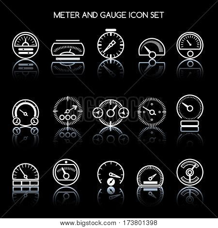 Meter and gauge icon set for control panel. Vector car speedometers signs. Auto indicator and pointer, tachometer and speedometer illustration