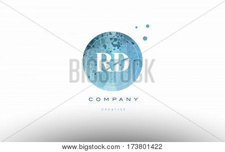 Rd R D  Watercolor Grunge Vintage Alphabet Letter Logo