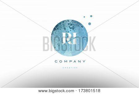 Ri R I  Watercolor Grunge Vintage Alphabet Letter Logo