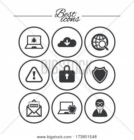 Internet privacy icons. Cyber crime signs. Virus, spam e-mail and anonymous user symbols. Classic simple flat icons. Vector
