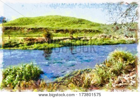 River flowing through a meadow with a grassy hillock in the background
