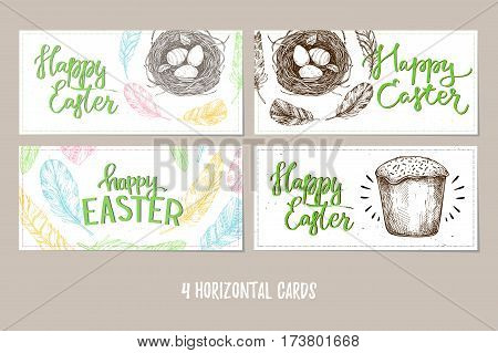 Hand Drawn Vector Illustration. Happy Easter! Design Brochures With  Illustrations Of Eggs, Feathers
