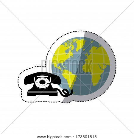 sticker opaque earth world with silhouette antique phone vector illustration