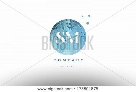Sm S M  Watercolor Grunge Vintage Alphabet Letter Logo