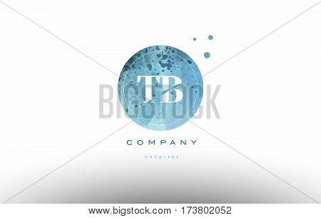 Tb T B  Watercolor Grunge Vintage Alphabet Letter Logo
