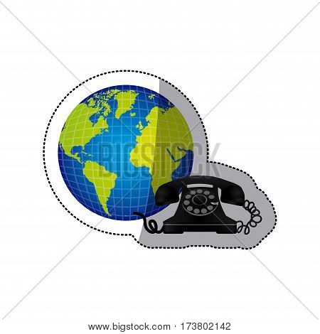 sticker colorful earth world with silhouette old phone vector illustration