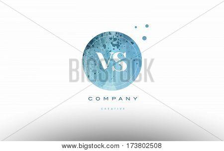 Vs V S  Watercolor Grunge Vintage Alphabet Letter Logo