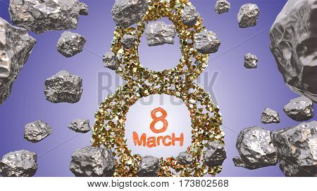 8 March symbol. Figure of eight made of golden gem blocks flying in the space with asteroids. Can be used as a decorative greeting grungy or postcard for international Woman's Day. 3d illustration.