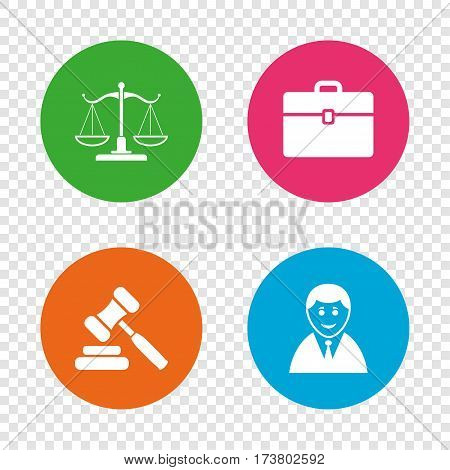 Scales of Justice icon. Client or Lawyer symbol. Auction hammer sign. Law judge gavel. Court of law. Round buttons on transparent background. Vector