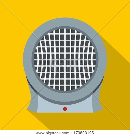 Portable electric heater icon. Flat illustration of portable electric heater vector icon for web isolated on yellow background