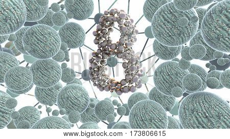 8 March symbol eight made of silver flying in the space and round by khaki spheres frame. Can be used as a decorative greeting grungy or postcard for international Woman's Day. 3d illustration.
