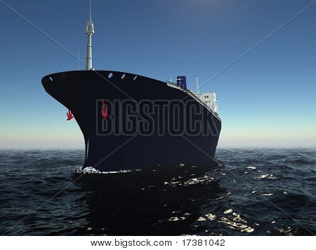 The cargo ship in the sea