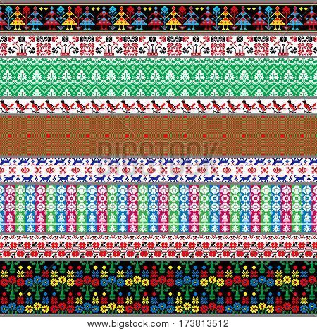 Belarusian traditional patterns ornaments. Vector set 7