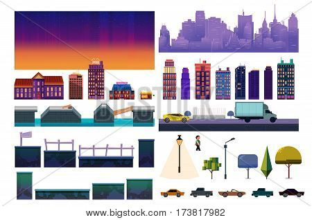 Night City Game Level Kit. Vector collection For Video Game On White Background.