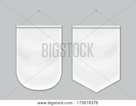 Pennant white blank hanging on the wall, template mockup vector