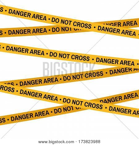 Crime Scene Yellow Tape, Police Line Do Not Cross Danger Area Tape. Cartoon Flat-style. Vector Illus