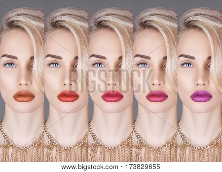 Fashion collage blonde close-up of beautiful woman with colorful lipstick. Woman Collection lipstick. Perfect lips makeup Bright appearance