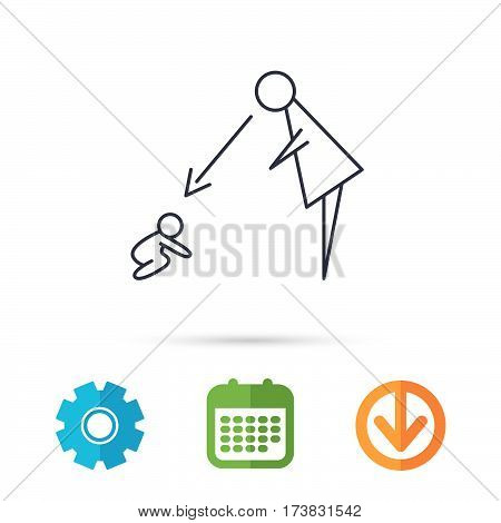 Under nanny supervision icon. Babysitting care sign. Mother watching baby symbol. Calendar, cogwheel and download arrow signs. Colored flat web icons. Vector