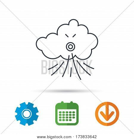 Wind icon. Cloud with storm sign. Strong wind or tempest symbol. Calendar, cogwheel and download arrow signs. Colored flat web icons. Vector