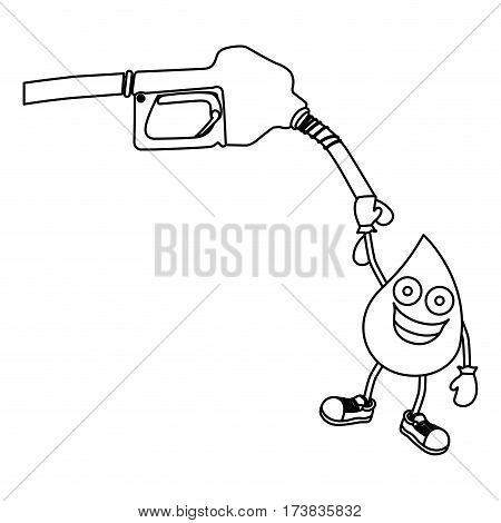 monochrome contour with gasoline pump nozzle and animated drop of gasoline vector illustration