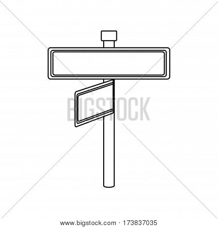 monochrome contour with rectangle shape with metal pointer with two directions and one in front view vector illustration