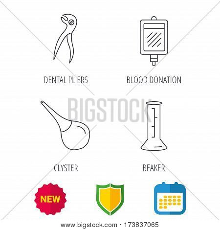 Beaker, blood and dental pliers icons. Clyster linear sign. Shield protection, calendar and new tag web icons. Vector