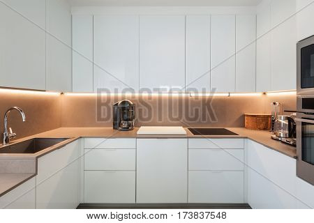 Interior of apartment, modern kitchen